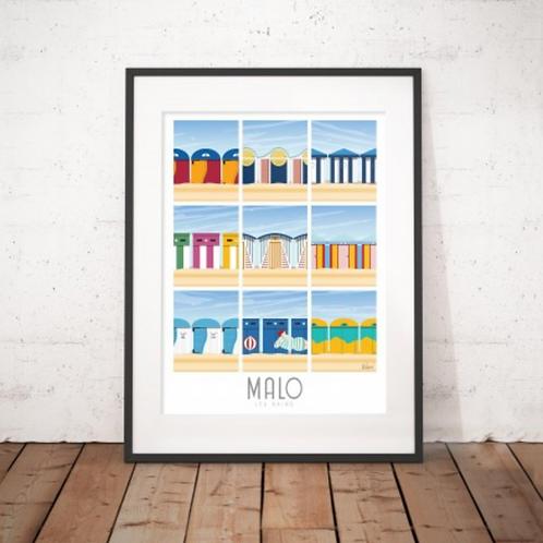 Affiche Wim' Malo Cabines 30x40 cm