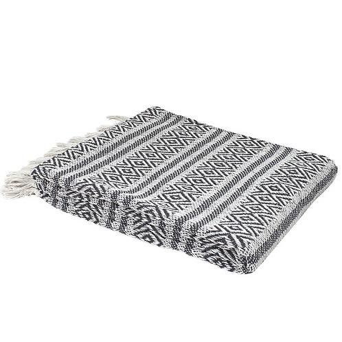 Plaid en coton gris et blanc