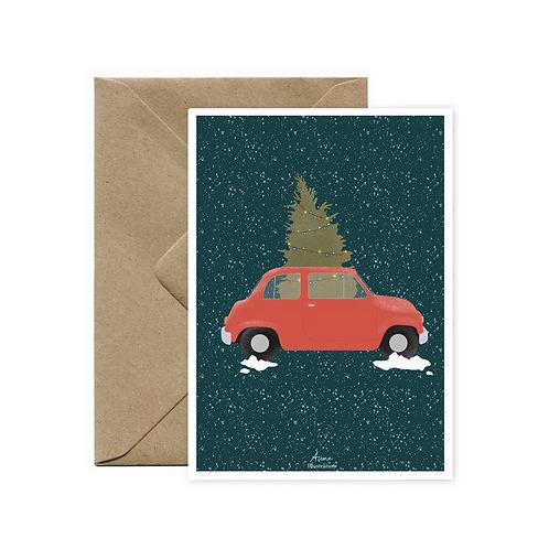 Carte postale Voiture de Noël AIME ILLUSTRATION