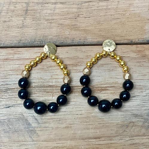 Boucles d'Oreilles BOHO – noir et or