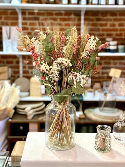 Bouquet de fleurs séchées couleurs vieux rose