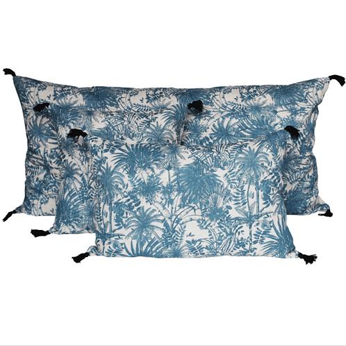 Coussin en lin Mahé bleu 40x60 cm