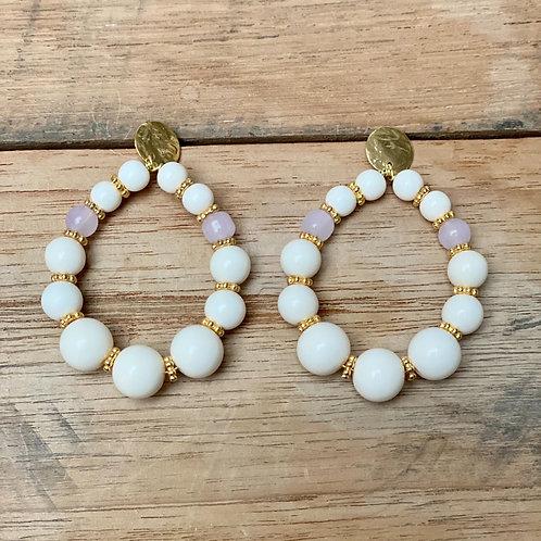 Boucles d'Oreilles BOHO – ivoire et rose