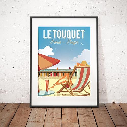 Affiche Wim' Le Touquet Paris Plage 30x40 cm