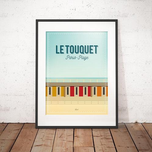 Affiche Wim' Le Touquet Cabines 30x40 cm