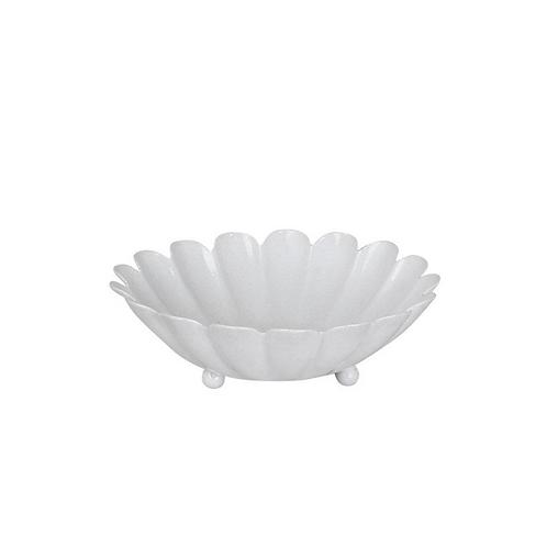 Coupelle métallique fleur blanche