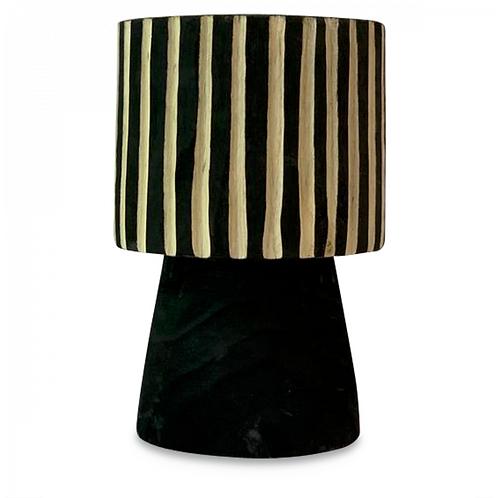 Vase en bois rayé noir et naturel