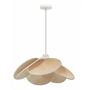 Suspension en cannage D52 cm liseret blanc