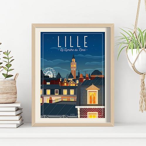 Affiche Sacrée Lilloise Lille Lumière du Nord 30x40 cm