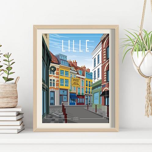 Affiche Sacrée Lilloise Place des Patiniers Jour - 30 x 40 cm