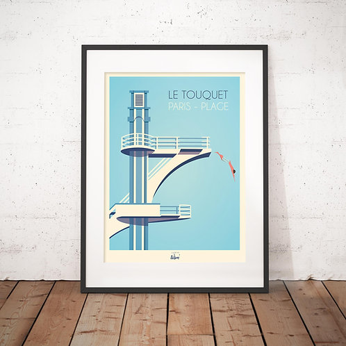 Affiche Wim' Le Touquet Plongeoir 30x40 cm