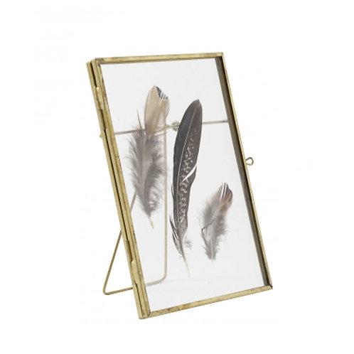 Cadre en verre transparent et plumes