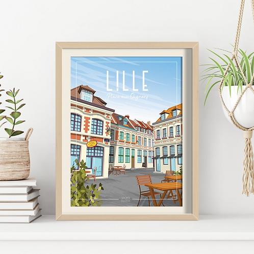 Affiche Sacrée Lilloise Place aux oignons - 30 x 40 cm