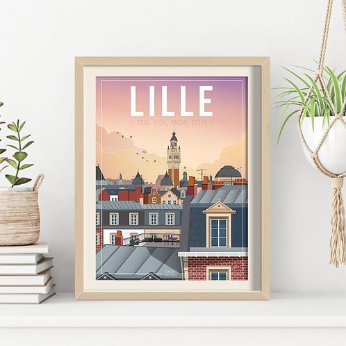 Affiche Sacrée Lilloise Lille Toi, Toi, mon Toit 30x40 cm