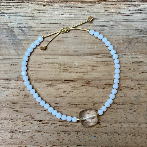 Bracelet perles fines – ivoire et nude