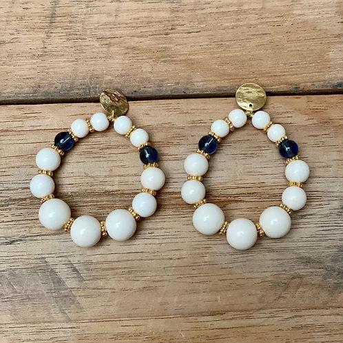 Boucles d'Oreilles BOHO – ivoire et bleu
