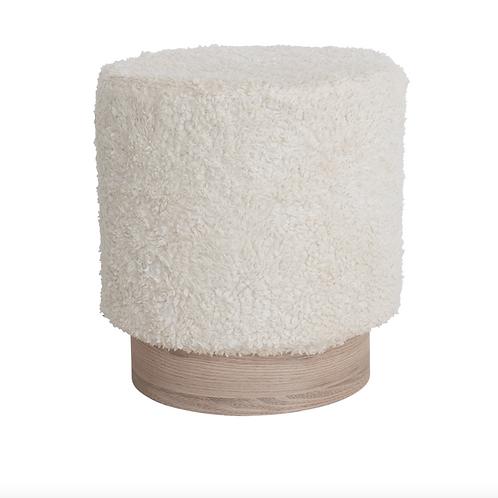 Pouf doudou en coton et bois de manguier