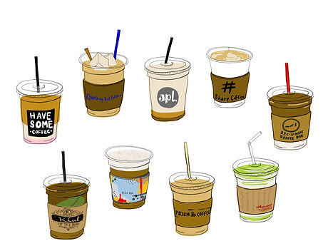 collection of different coffee cups to-go