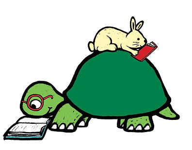 A tortoise reading a book, with a hare on his back, facing the rear and also reading a book.