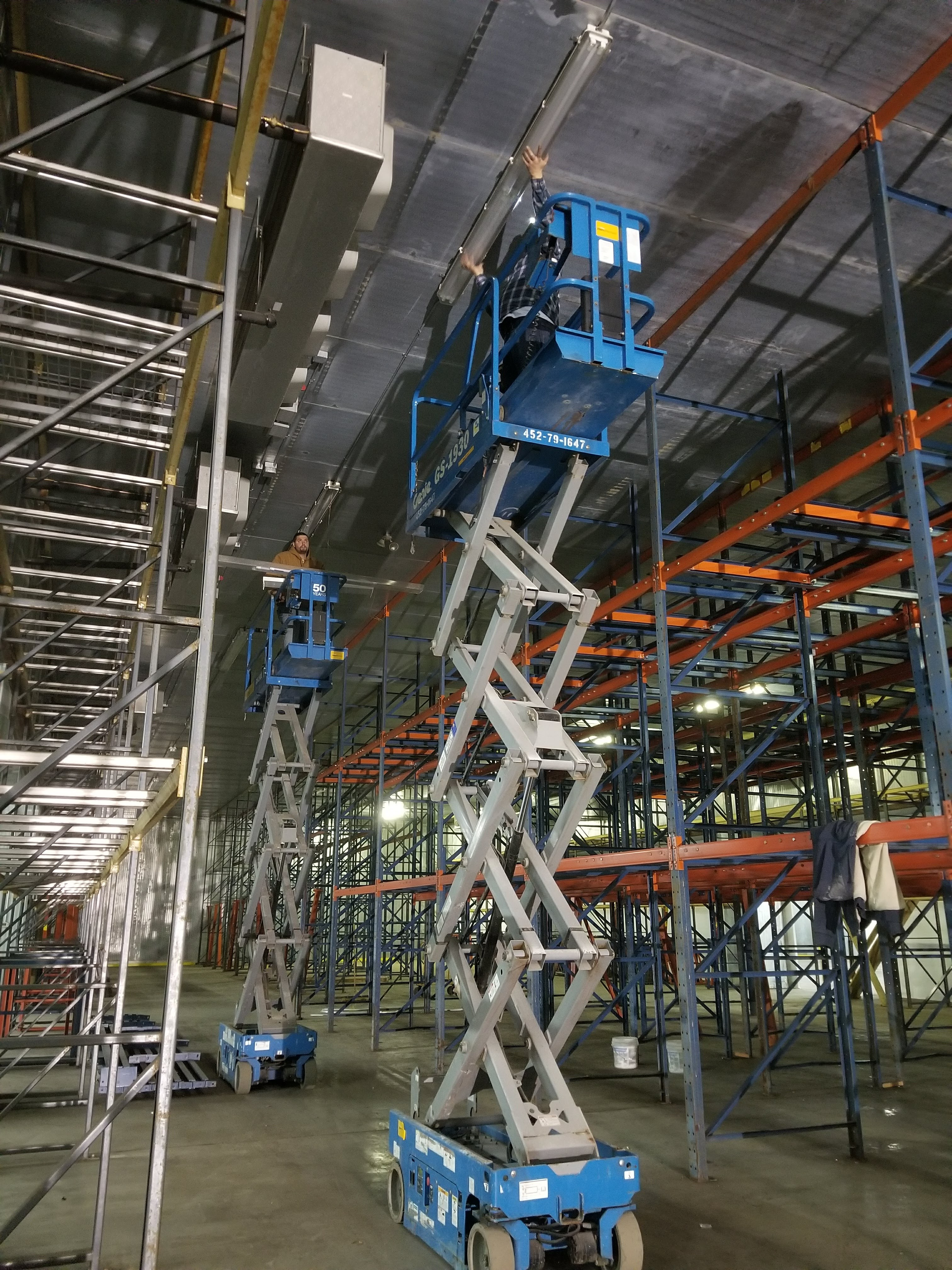 Scissor Lifts in a Warehouse Installation