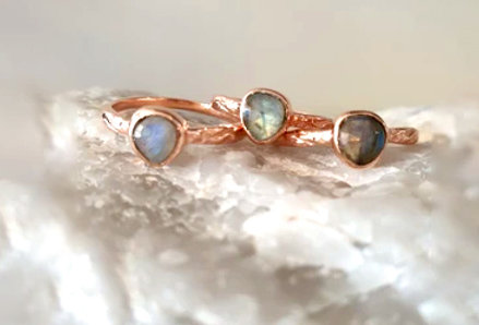 Ring - Celestial Labradorite in Rose Gold