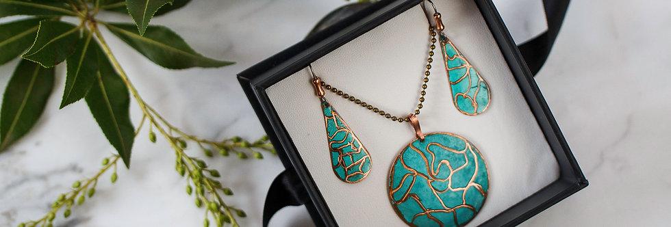 Set - Copper round pattern necklace &  drop earrings