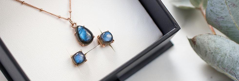 Labradorite Necklace & Stud Earrings