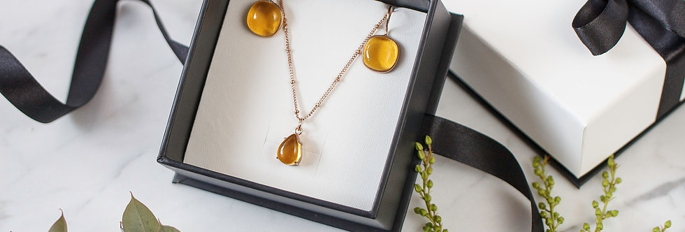 Set - Citrine Necklace & Earrings Sterling silver base & 3 micron rose gold to ensure longevity.