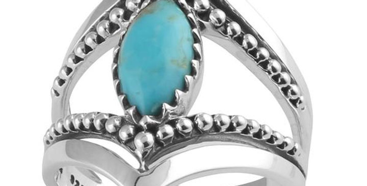 Ring - Turquoise Marquise Beaded in Sterling Silver