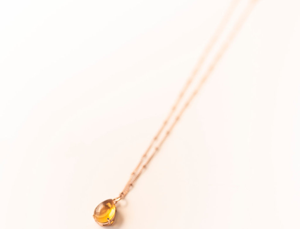 Necklace - Citrine in Rose Gold