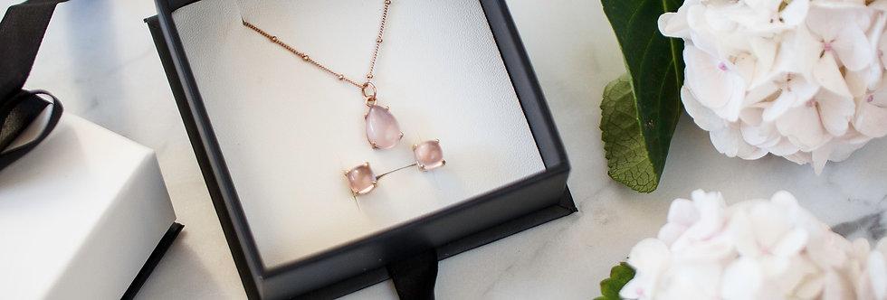 Set - Rose Gold Rose Quartz Necklace & Earrings