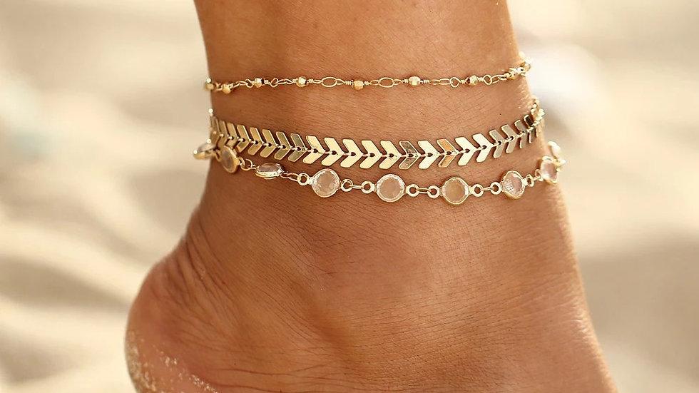 Gladiator 3 piece anklet set