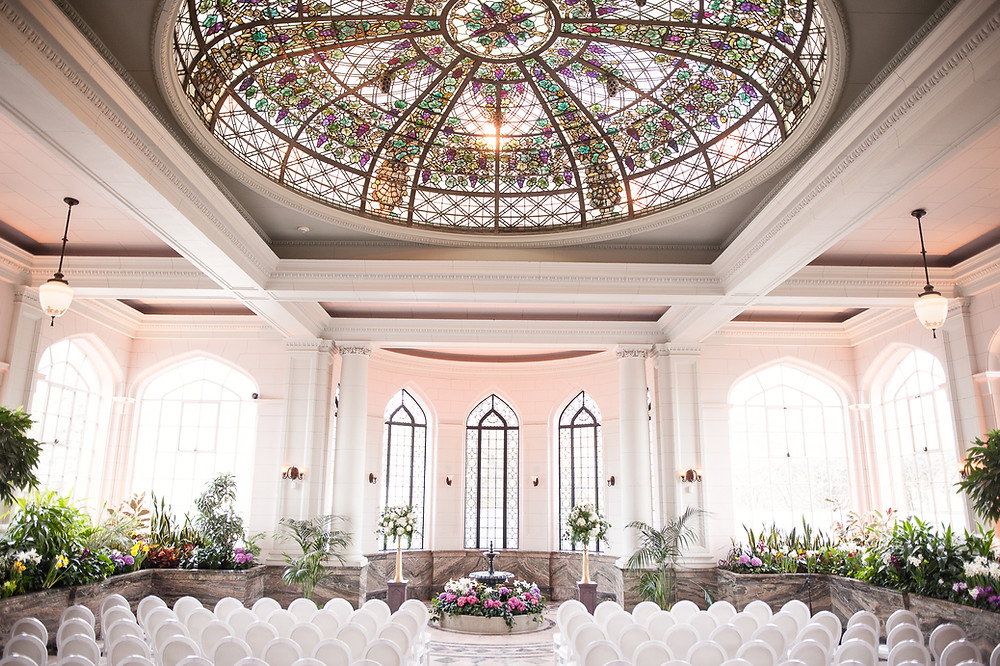 The Conservatory all set up for a wedding ceremony in Casa Loma