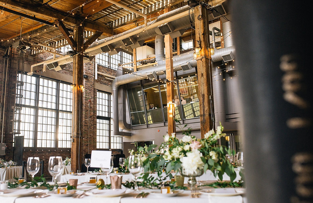 Reception wedding tables at The Steam Whistle Brewery