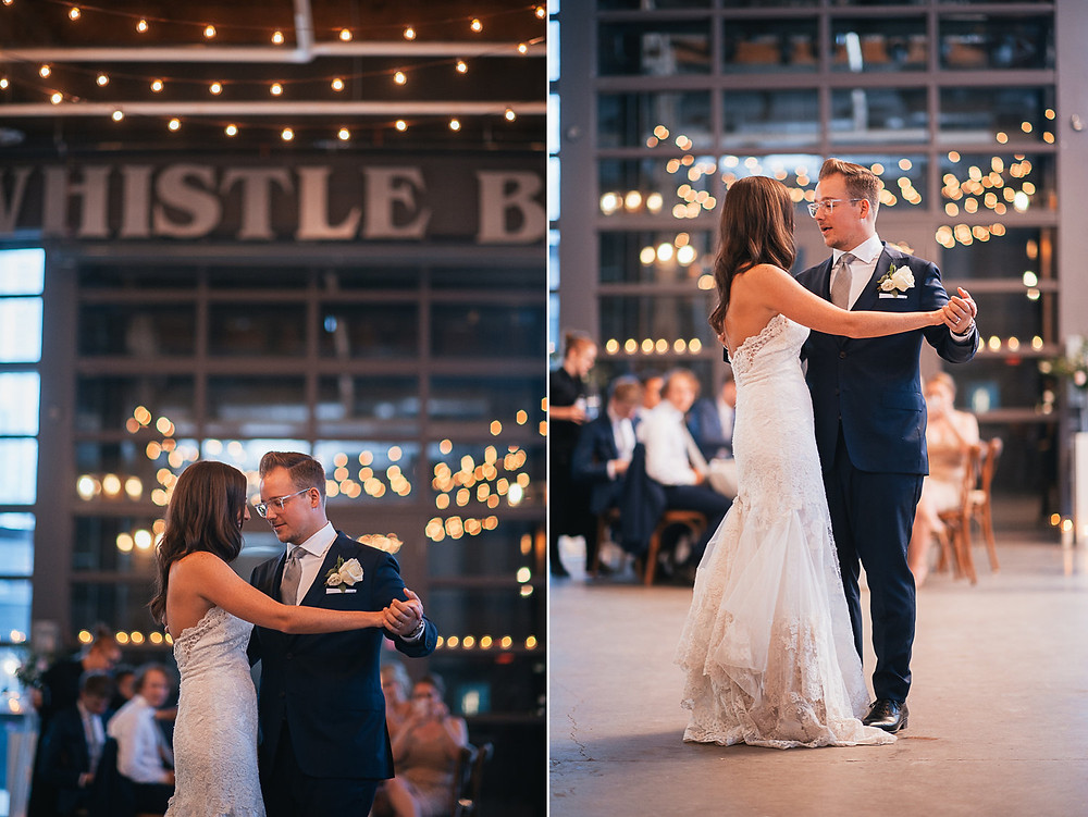Bride and Groom dancing at The Steam Whistle Brewery