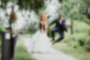 Bride and Groom walking at The Guild Inn Estate for their wedding