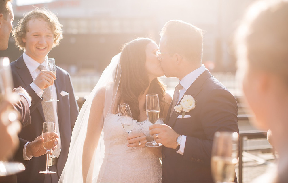 Bride and Groom photos at The Steam Whistle Brewery