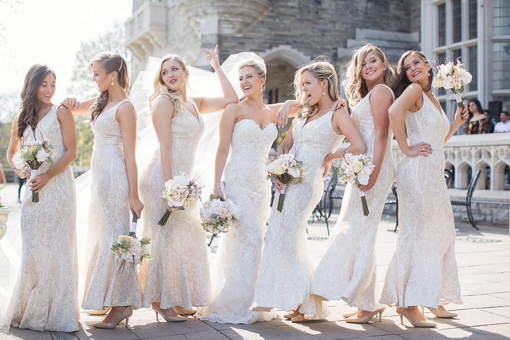 Bridal party in front of Casa Loma
