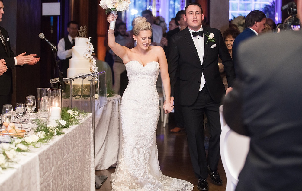 Bride and groom dancing inside Casa Loma at their reception