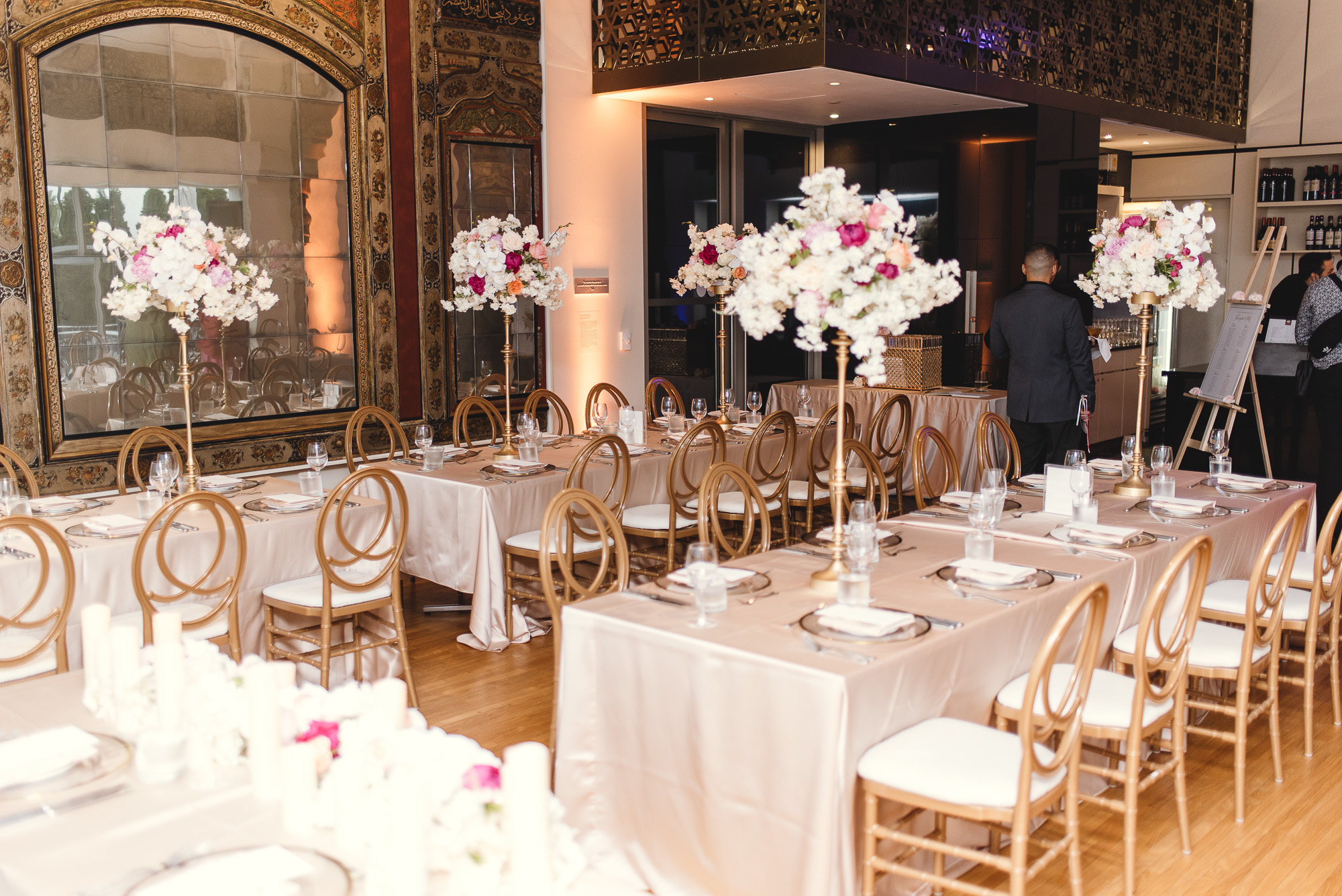 Wedding tables at the Aga Khan Museum in Toronto