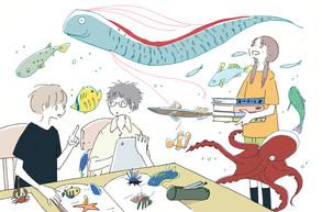 新聞連載「学校図書館の育て方」第7回挿絵 著:中山美由紀さん (共同通信社を通じて数誌で掲載)