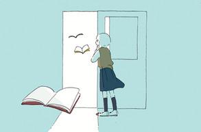 新聞連載「学校図書館の育て方」第1回挿絵 著:中山美由紀さん (共同通信社を通じて数誌で掲載)