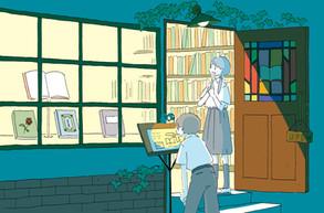 新聞連載「学校図書館の育て方」第4回挿絵 著:中山美由紀さん (共同通信社を通じて数誌で掲載)