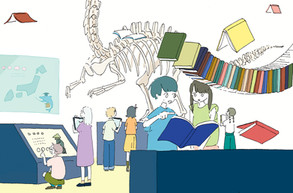 新聞連載「学校図書館の育て方」第12回挿絵 著:中山美由紀さん (共同通信社を通じて数誌で掲載)