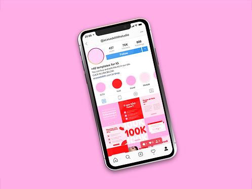 Kit +40 de Templates Canva Editáveis para Feed Instagram