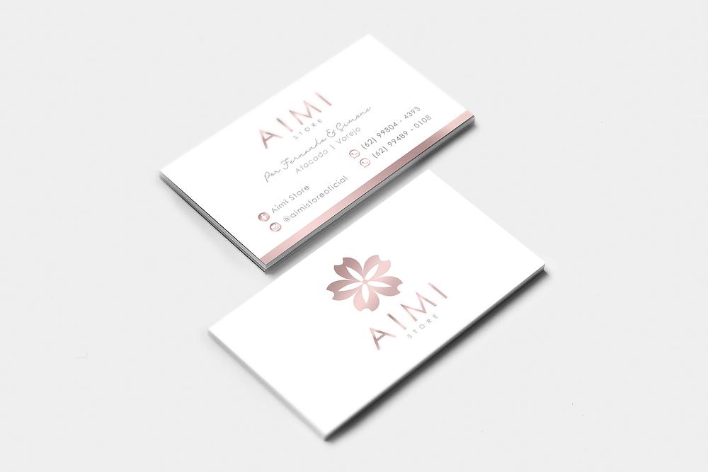 Tamanhos padrão para cartão de visita - Carão rosé gold em hotstamping