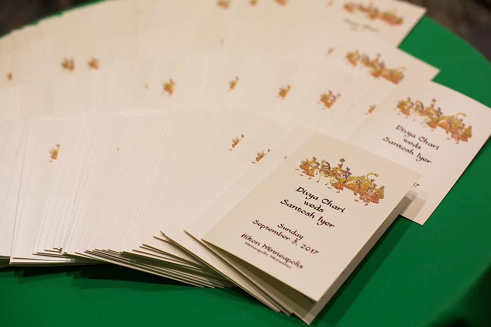 Wedding ceremony program, Indian wedding, South Asian Wedding