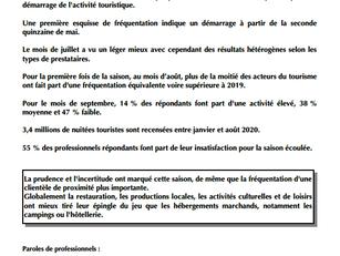 Bilan de la saison estivale juin à septembre 2020 : impactée par la covid, un mois d'août préservé