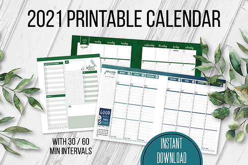2021 Printable Planner (30 MIN INCREMENTS)