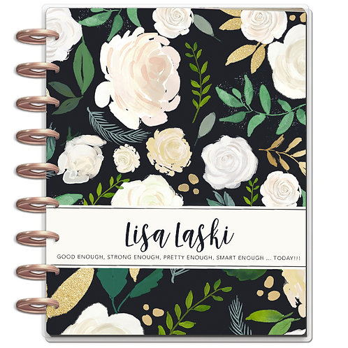 """Planner Cover - for Disc Planners """"Black Floral 2"""""""